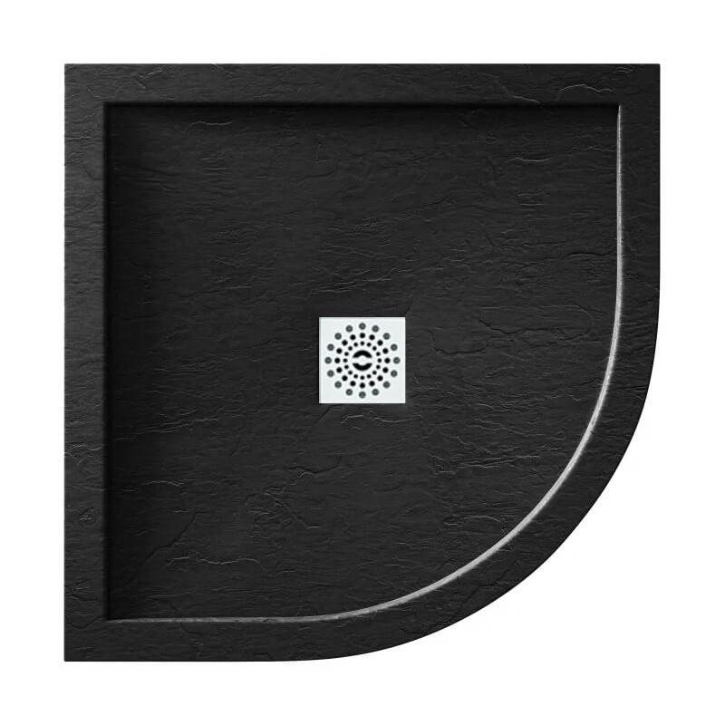 April Waifer Slate Effect Black Shower Tray 900mm Quadrant