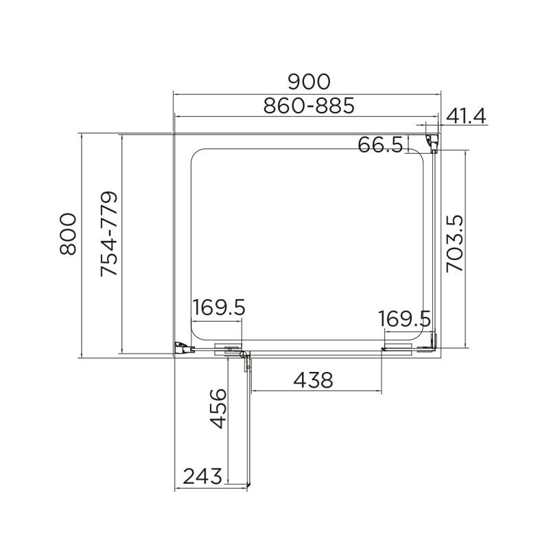 Aquadart Inline Hinged Door 2 Sided Enclosure 900x800mm