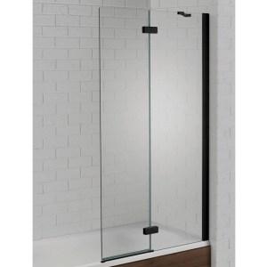 Aquadart Venturi 6 Hinged Bath Screen Black Right Hand