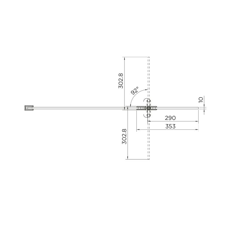 Aquadart 10mm Hinged Return Panel Smoked/Black Chrome