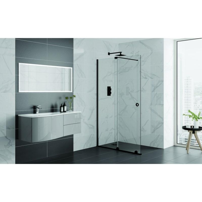 Aquadart Rolla 8 Sliding Wetroom Door 1200mm Matt Black