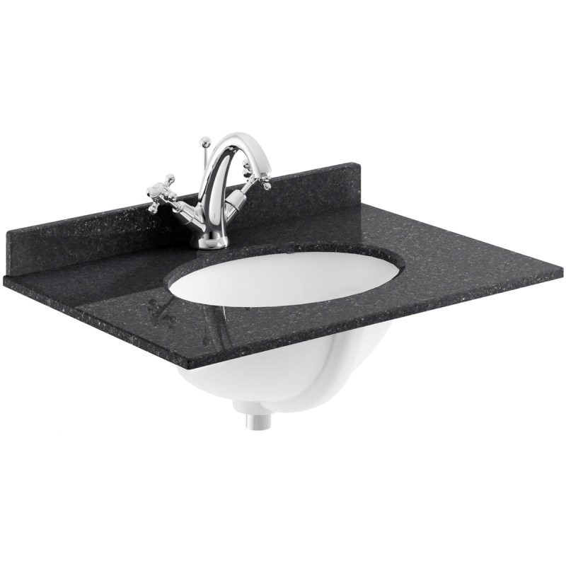 Bayswater Black 600mm 1 Tap Hole Single Bowl Marble Top