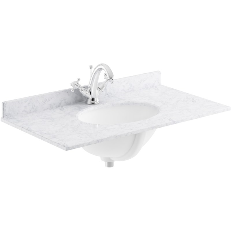 Bayswater White 600mm 1 Tap Hole Single Bowl Marble Top