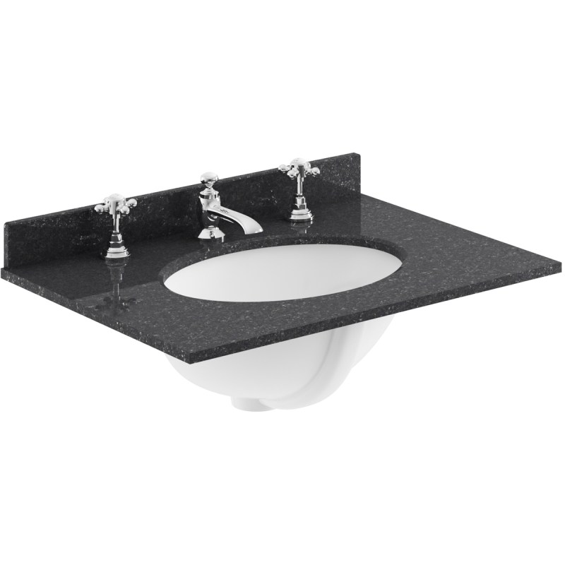 Bayswater Black 600mm Single Bowl 3 Tap Hole Marble Top