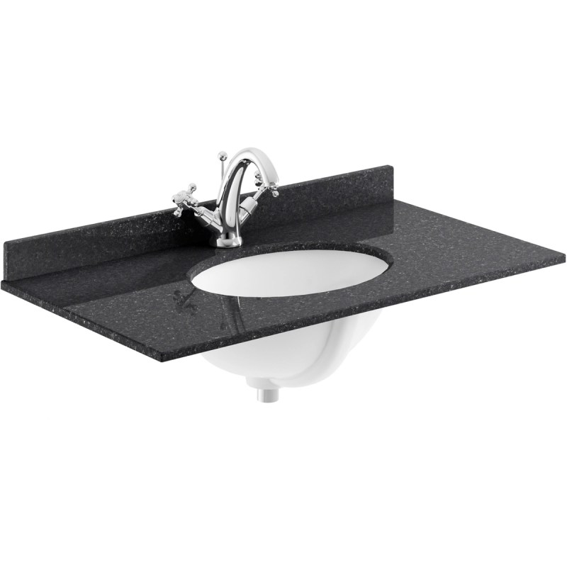 Bayswater Black 800mm Single Bowl 1 Tap Hole Marble Top