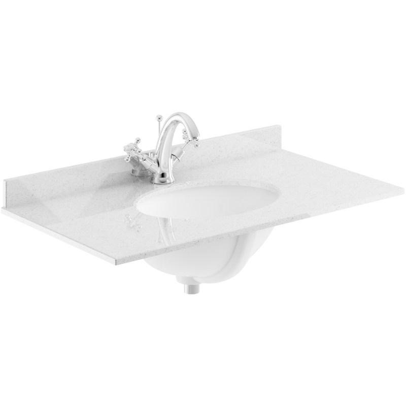 Bayswater Grey 800mm Single Bowl 1 Tap Hole Marble Top