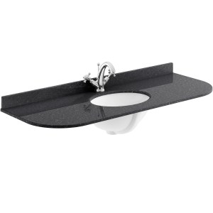 Bayswater Black 1200mm Single Bowl 1 Tap Hole Curved Marble Top