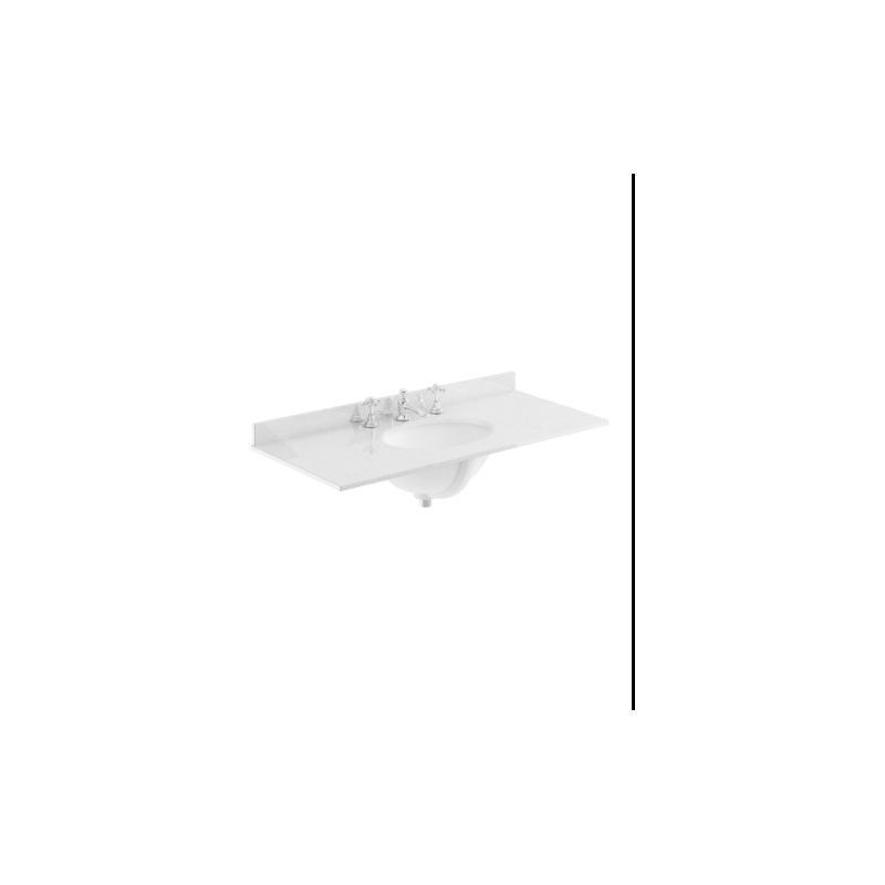 Bayswater 1000mm Single Bowl 3 Tap Hole White Marble Top