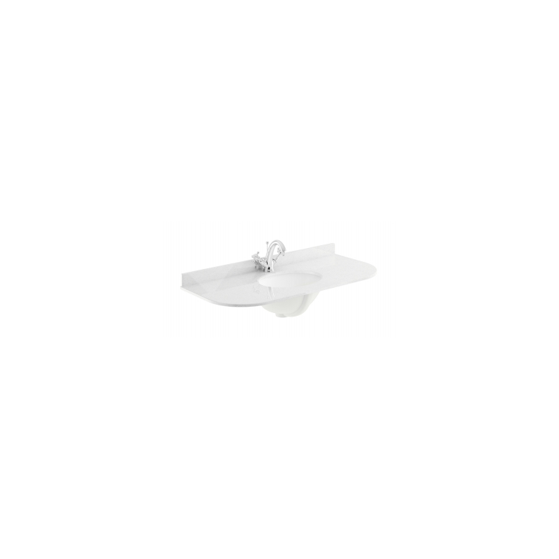Bayswater 1000mm Single Bowl Curved 1 Hole White Marble Top