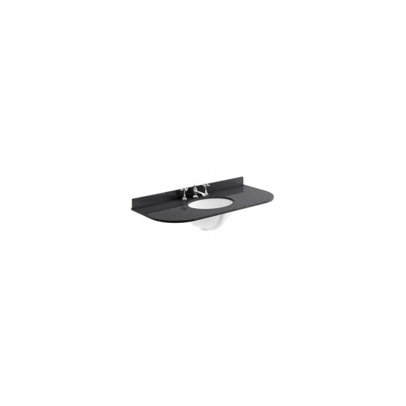 Bayswater 1000mm Single Bowl Curved 3 Hole Black Marble Top