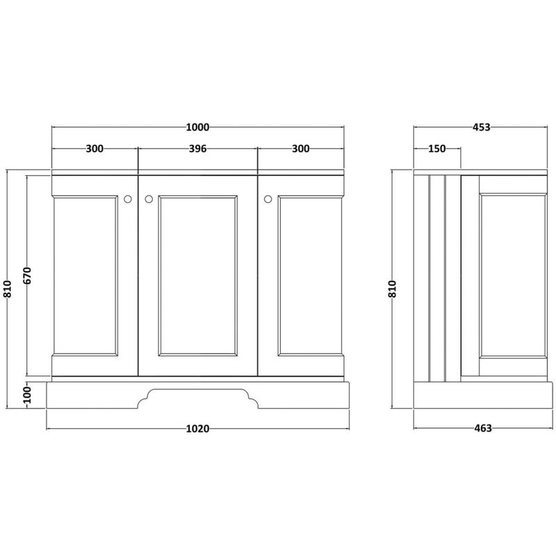 Bayswater 1000mm 3 Door Curved Basin Cabinet Blue