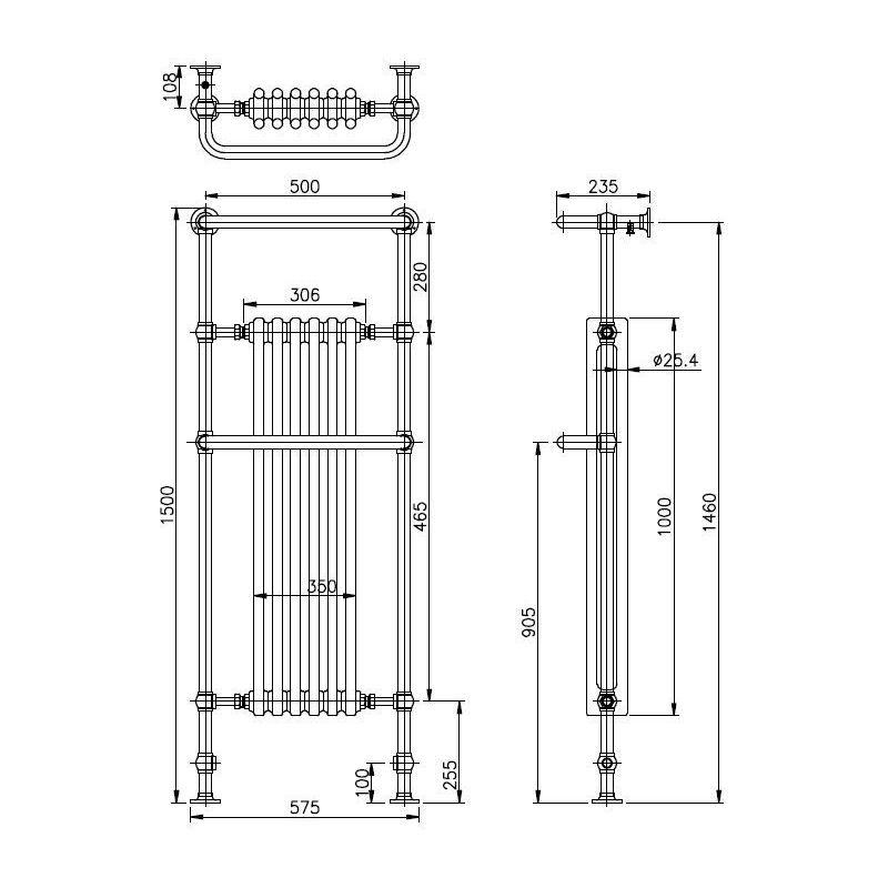 Bayswater Franklyn Towel Rail/Radiator 1500 x 575 x 230mm