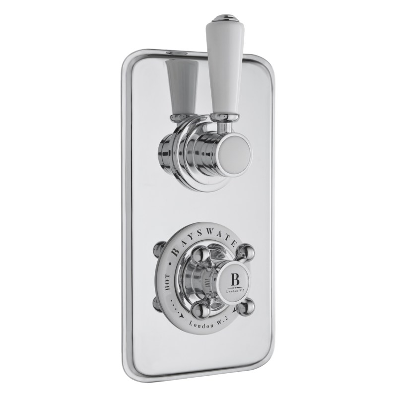 Bayswater Twin Concealed Valve with Diverter & White Indices