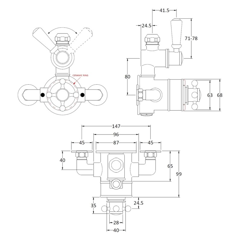 Bayswater Twin Exposed Valve with Black Indices