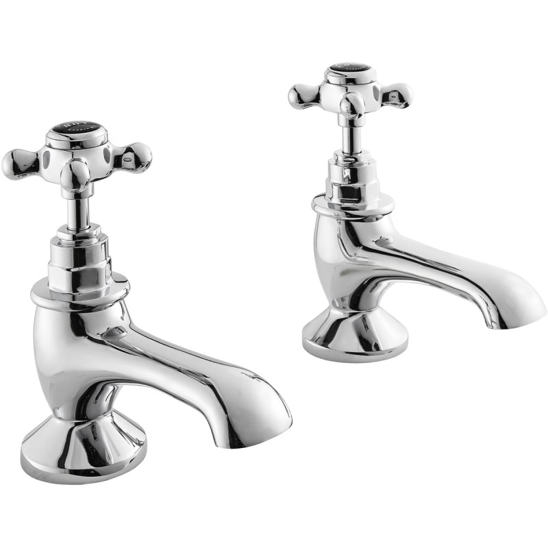 Bayswater Black Bath Taps with Crosshead & Hex Collar
