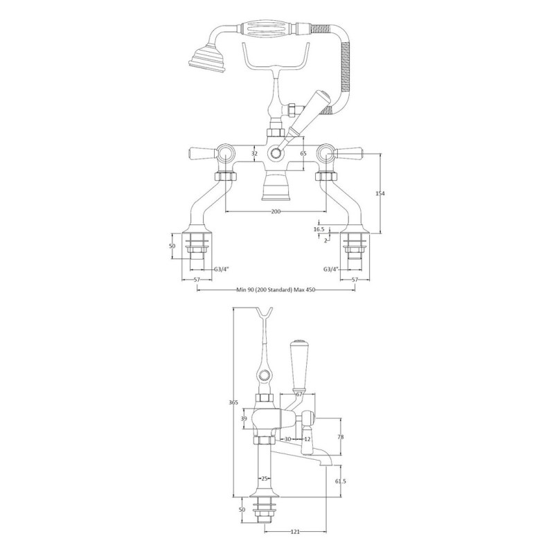 Bayswater White Bath Shower Mixer with Lever & Dome Collar
