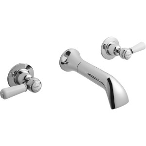 Bayswater White Wall Bath Filler with Lever & Dome Collar