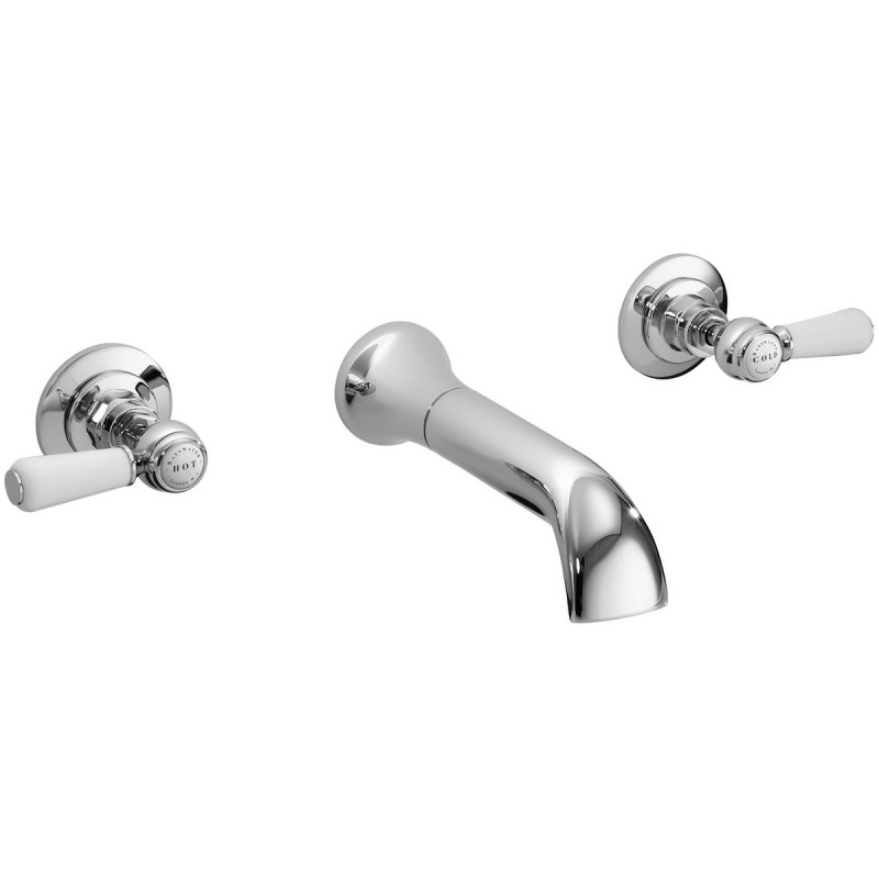 Bayswater White Wall Bath Filler with Lever & Hex Collar
