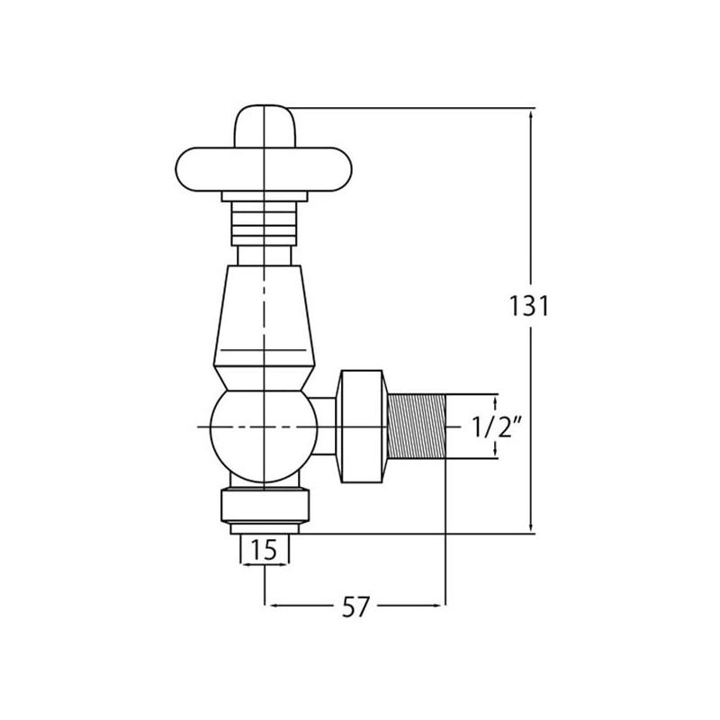 Bayswater Satin Nickel Angled Thermostatic Radiator Valves