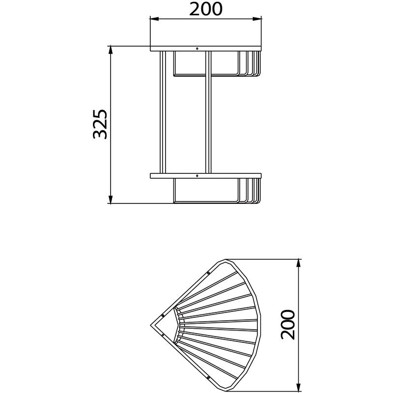 Bristan Two Tier Corner Fixed Wire Basket