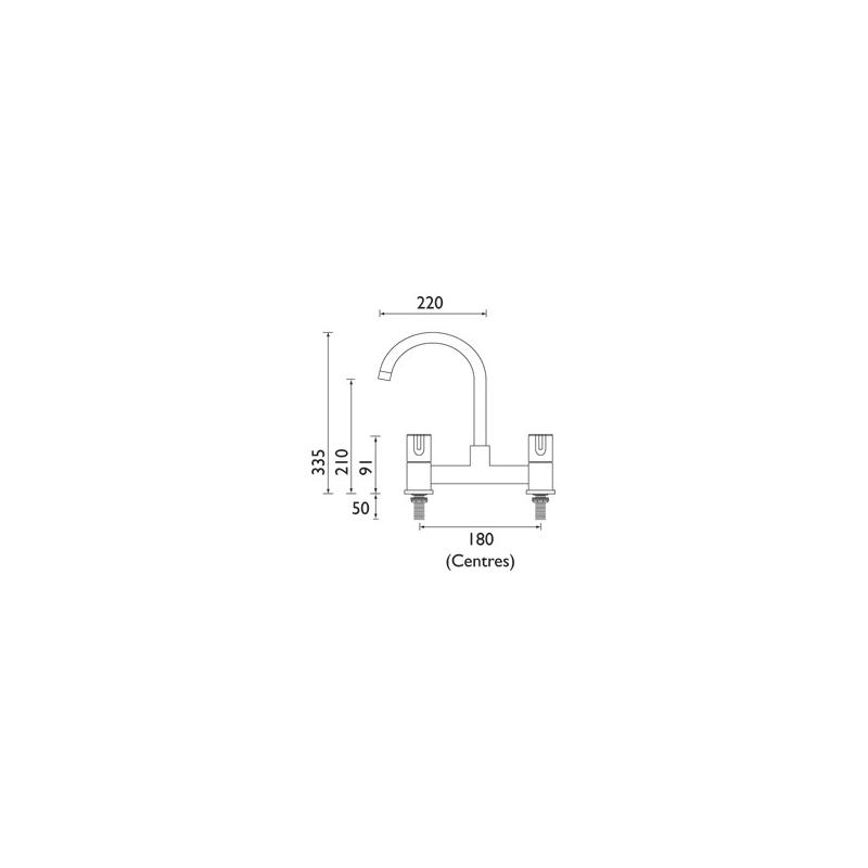 Bristan Design Utility Lever Deck Sink Mixer