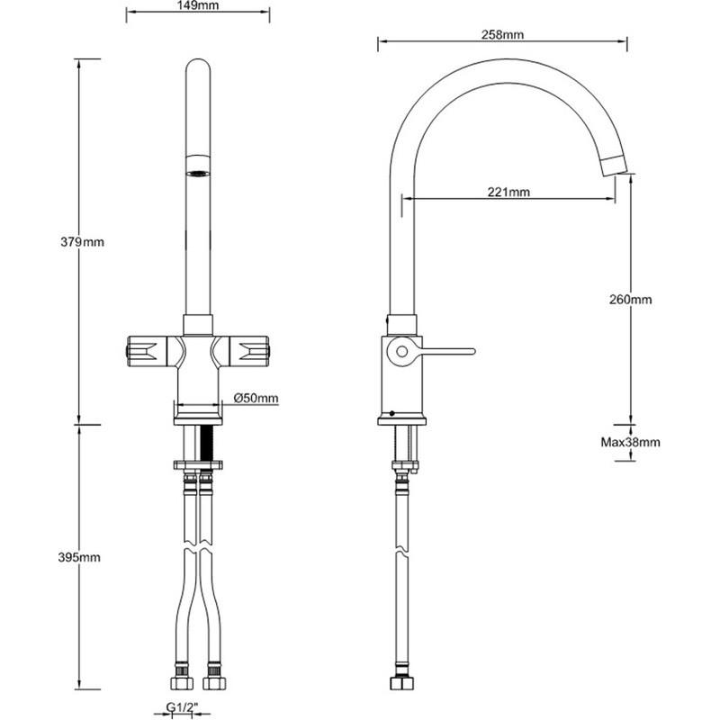 Bristan Design Utility Lever Easyfit Mono Sink Mixer Chrome