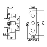 Bristan Exodus Thermostatic 3 Handle Shower Valve with Stopcocks