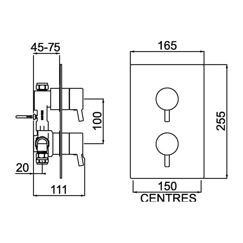 Bristan Prism Recessed Thermostatic Dual Control Shower Valve