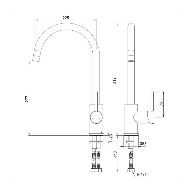 Bristan Pistachio Easyfit Sink Mixer Brushed Nickel