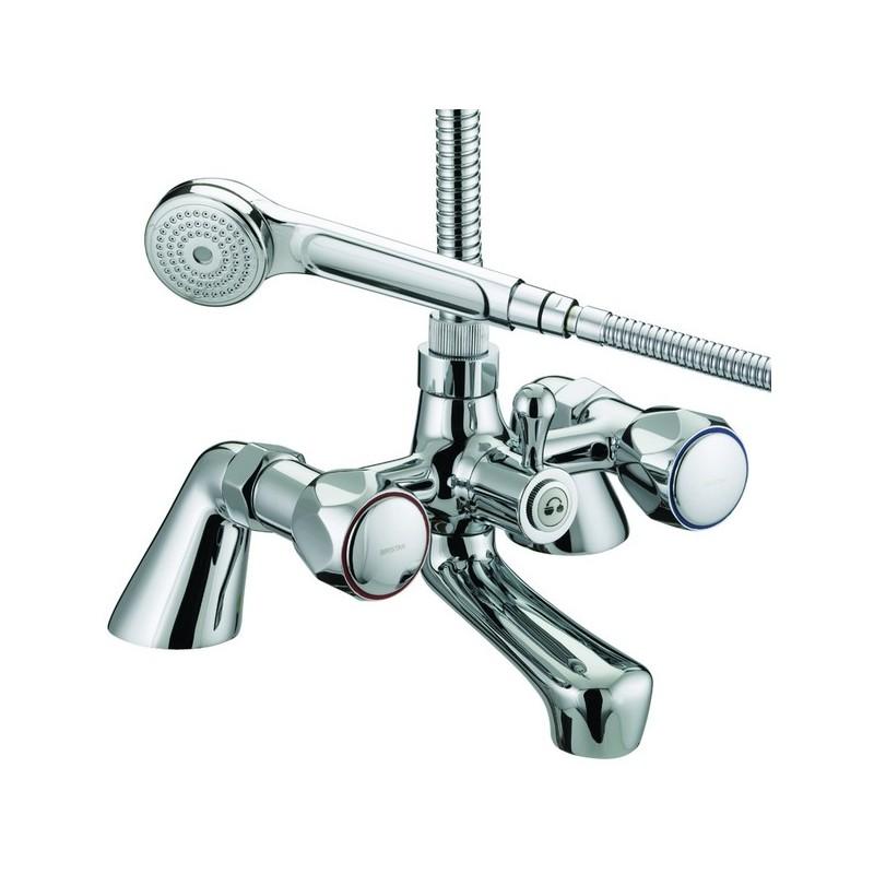 Bristan Club Pillar Bath Shower Mixer - Metal Heads