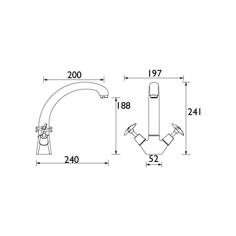 Bristan X Head Monobloc Sink Mixer Tap