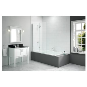 Merlyn 1100x1500mm 2-Panel Folding Hinged Bath Screen