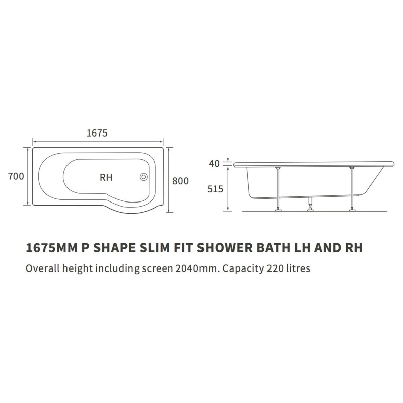 Bathrooms To Love P-Shape Supercast 1675mm Shower Bath Pack Right