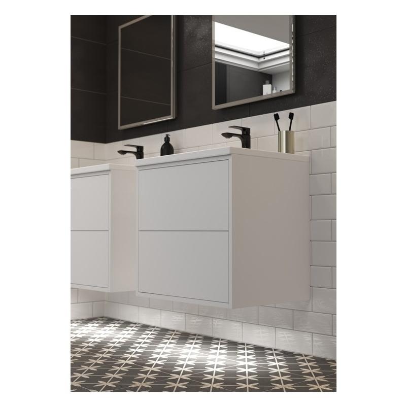 Bathrooms To Love Perla 900mm 2 Drawer Wall Vanity Unit Matt White