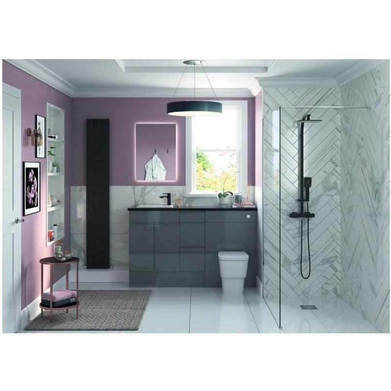 Bathrooms To Love Valesso 500mm Slim WC Unit Onyx Grey Gloss