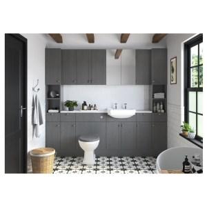 Bathrooms To Love Benita 330x2200mm Tall End Panel Grey Ash