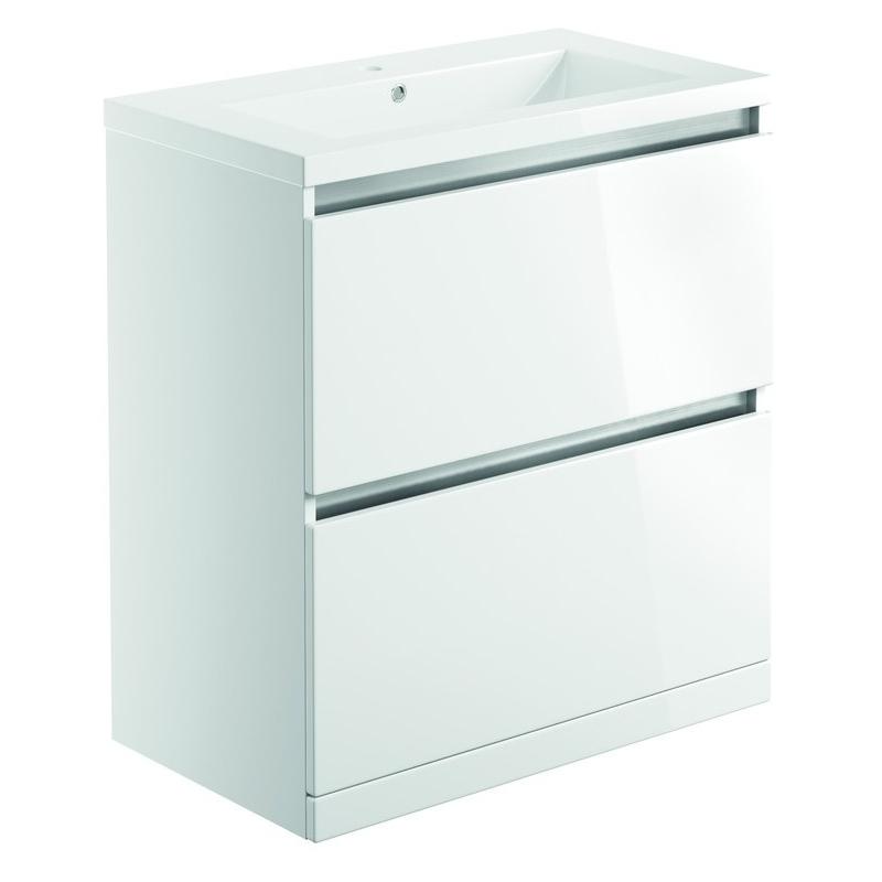 Bathrooms To Love Carino 800mm Floor Unit & Basin White Gloss