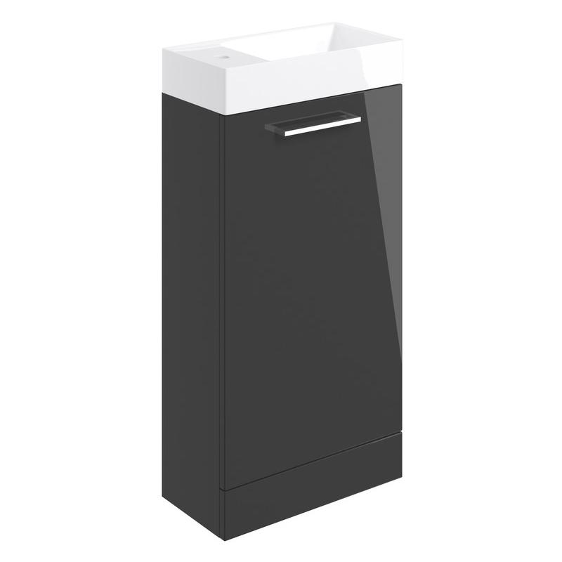 Bathrooms To Love Volta 410mm Floor Unit & Basin Anthracite Gloss