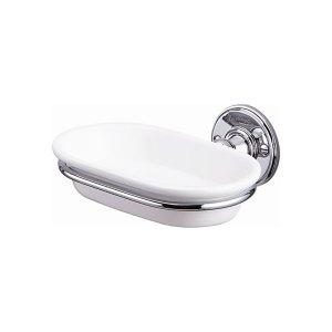 Burlington Ceramic Soap Dish with Chrome Holder