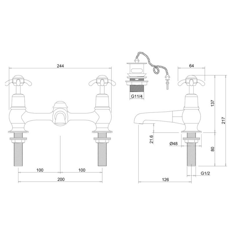 Burlington Anglesey Bridge Basin Mixer with Plug & Chain Waste