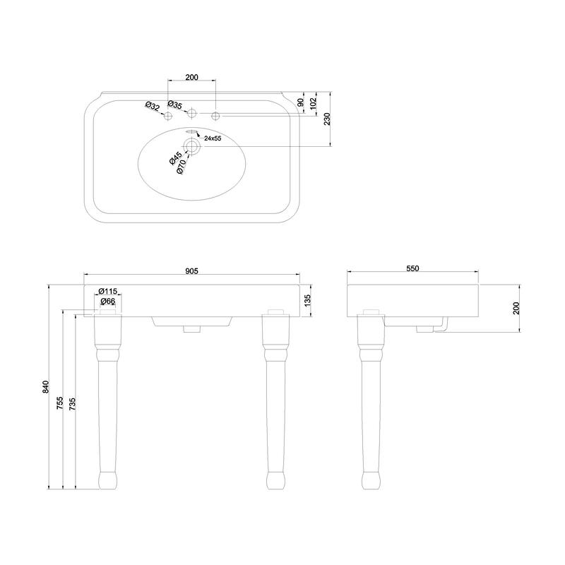 Burlington Arcade 900mm 3 Hole Basin & Ceramic Console Legs