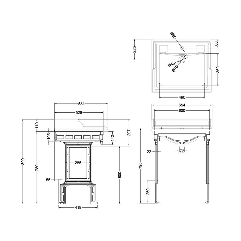 Burlington Classic 65cm 1 Hole Basin & Brushed Aluminium Stand