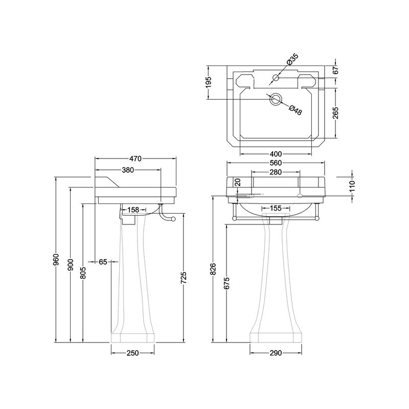 Burlington Edwardian 56cm 1 Hole Basin, Towel Rail & Regal Pedestal