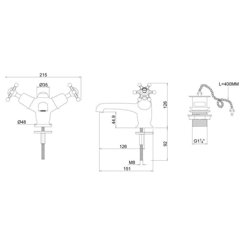 Burlington Birkenhead Basin Mixer with Plug & Chain Waste