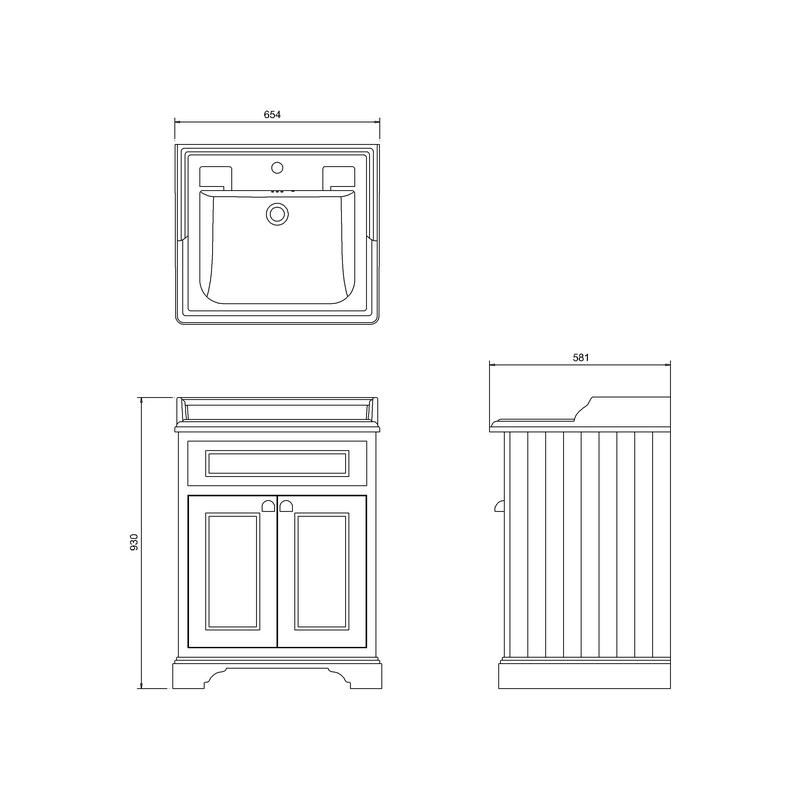 Burlington Freestanding 65cm Vanity Unit & 1 Hole Basin