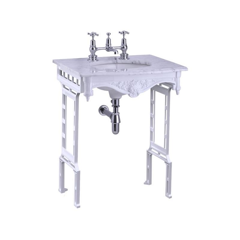 Burlington Carrara Marble Top & Basin with White Washstand