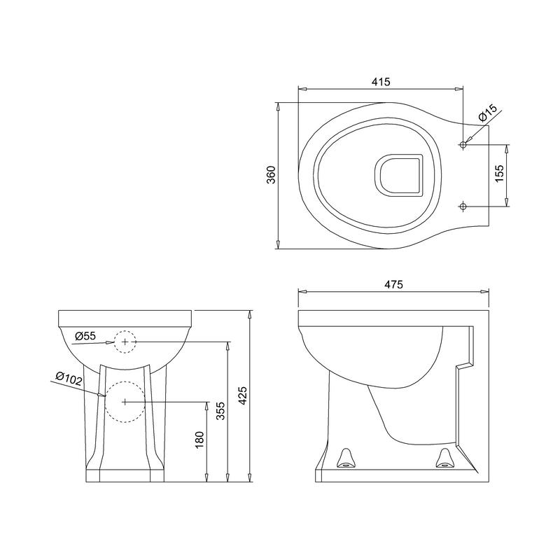 Burlington Back-To-Wall WC Pan
