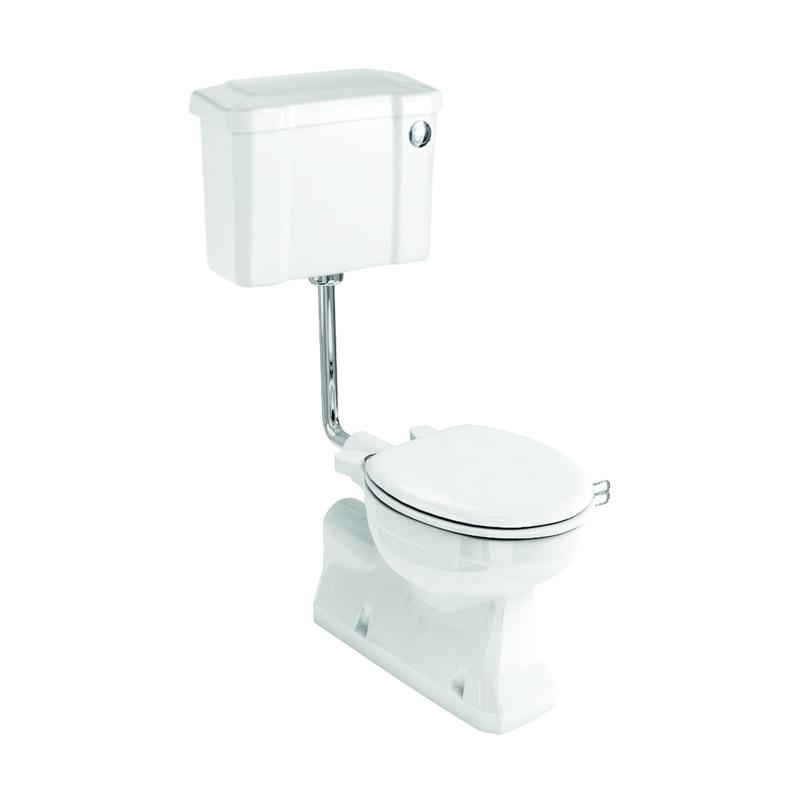 Burlington S Trap Low Level Toilet, 44cm Front Push Button Cistern
