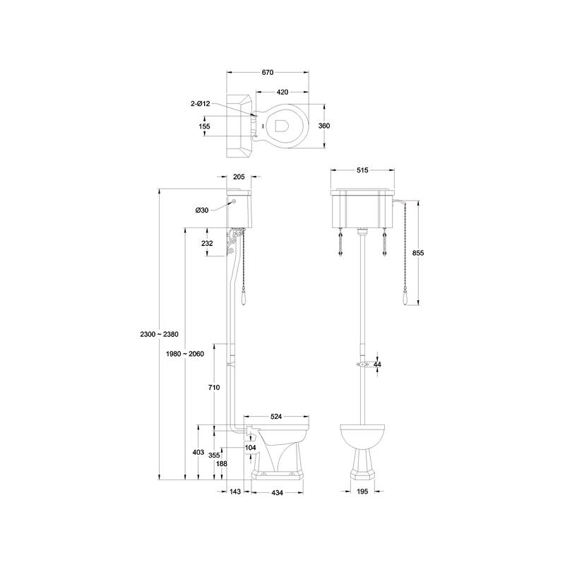Burlington Standard High Level Toilet with Single Flush Cistern