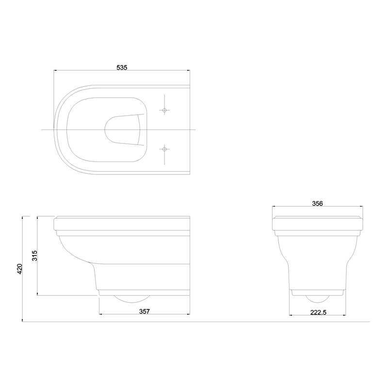 Burlington Riviera Wall Hung WC Pan & Soft Close Seat